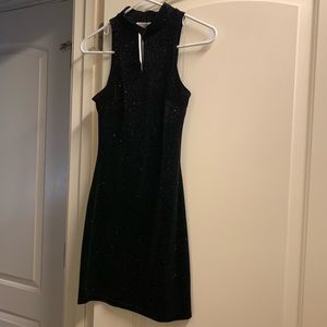 Black multi sparkling Fitted Going Out Dress